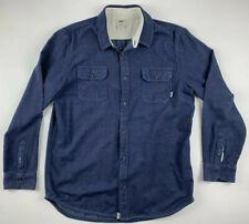 VANS Speckled Blue Long Sleeve Button Flannel Shirt Men Large