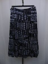 JM Collection Petite Tiered Multi-Print Maxi Skirt PXL Navy Blue & White #1272