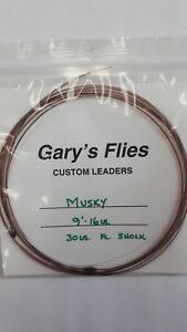 "Gary's Flies "" CUSTOM LEADERS "" Musky 9'  16lb.    30lb. Fc. Shock  LIQUIDATION"