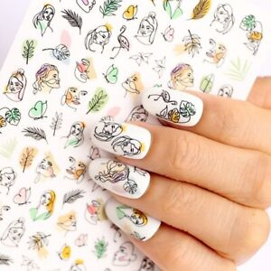 Summer Nail Art Decal Stickers Abstract Face Drawing Green Leaves Floral Nail AU