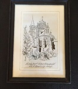 Pen Ink Drawing Sketch Warsaw (Warszawa) Poland Church 1992