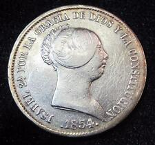 1854 20 Reales * Spain * 90% Silver * Better Grade * Proof Like * 7 Point Star