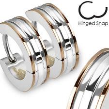 Surgical Stainless Steel Coffee-Tone Striped Hoop Earrings (Men or Women)