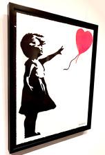 "NEW STREET ART:  SIGNED & FRAMED ORIGINAL ""BANKSY'S BALLOON GIRL"" BY BANDIT"