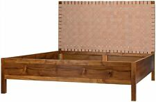 "87"" L King Bed Solid Teak Wood Frame Hand Woven Leather Patchwork Headboard"