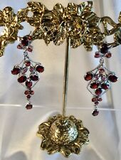 Ruby Garnet Sterling Earrings,Val $620.00,NEW