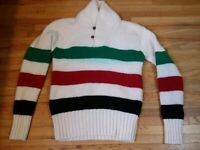 RARE VINTAGE POLO RALPH LAUREN WOOL STRIPED SHAWL COLLAR SWEATER SIZE SMALL