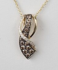 NEW 14K Yellow Gold LeVian Chocolate Diamond Wave Necklace 18""
