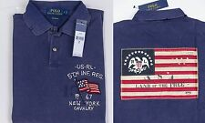 NWT Ralph Lauren Polo Rugby Custom Fit Mens Shirt USA Flag M MEDIUM Blue $145