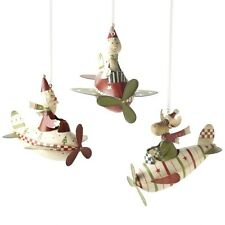 Christmas Santa Snowman Reindeer Metal Flying Plane Decorations by Heaven Sends