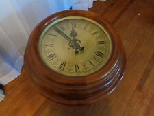 Clock Brass Face Glass Style Living Room Side Accent End Wood Table Casters