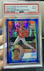 2018 TOPPS SILVER PACK CHROME #134 JUAN SOTO RC BLUE REFRACTOR /150 PSA 9 ROOKIE