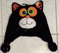 Child's Black Orange White Green Soft Knit Black Cat Winter Hat