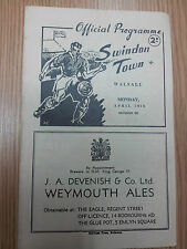 1949/50 SWINDON TOWN v WALSALL