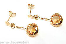 9ct Gold Round Citrine Drop Earrings Made in UK Gift Boxed Birthday Gift