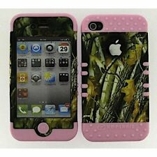 HYBRID Silicone Hard Cover Case+Apple iPhone 4 4S Camo Oak Branch on Light Pink