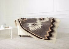 Gray Fluffy Wool Throw Blanket Large Throw for Sofa Handmade 100% Sheep Wool