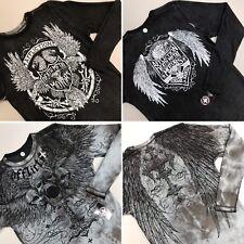 Affliction Reversible Thermal Shirt Saint Scream Skulls Live Fast Death Metal S