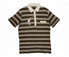 DIESEL T-KADA OLIVE GREEN GREY STRIPE KNITTED POLO SHIRT SIZE L 100% AUTHENTIC