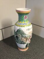 "PORCELAIN VASE mountains 12"" Oriental Hand Painted Beautiful Made In Taiwan"