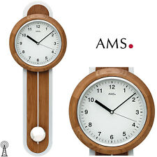 Ams 50 Wall Clock Radio Rc Controlled Pendulum Living Room Wood oak 144