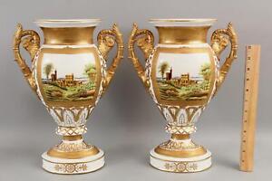 Pair Large Chelsea House, Gold Gilt Porcelain Mantle Urns, Landscape Paintings
