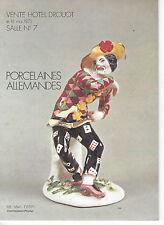 RARE Catalogue Drouot PORCELAINE ALLEMANDE XVIIIe ET XIXe SIECLE SAXE 1975