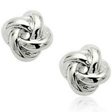 Plain white gold knot stud earrings quality jewellery gift box ladies UK seller