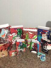 Christmas gift bags and gift card boxes, tissue paper and bows included