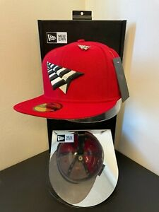 """RocNation Paper Planes Authentic New Era Fitted Cap - Red 7 1/2"""" with Pin"""