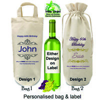 Personalised 60th Birthday Bottle Bag and Bottle Label Wine Gift Wrapping Drink