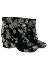 Karl Lagerfeld Womens Ankle Boots Size 8 Black Floral Heel
