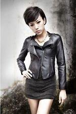 Zipper Girl PU Leather Jacket Women Slim Rivet Short Coats Size M