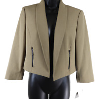 """NWT Kasper """"Camel"""" Tan Open Front Short Length Jacket Women's Size 4"""