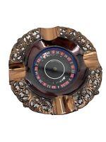 "VINTAGE  5"" Las Vegas Roulette Wheel ( WORKING ) ASHTRAY - Copper Tone Metal"