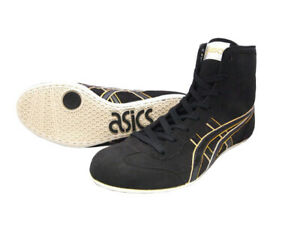 ASICS Wrestling Boxing Shoes EX-EO Black Gold Color Flat Sole TWR900 JAPAN New