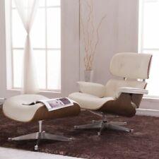 Genuine Eames Lounge Chair & Ottoman Style White Walnut Italian Leather