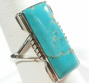 925 STERLING SILVER ETCHED RECTANGLE DESIGN TURQUOISE SIZE 9 RING 5.9gr