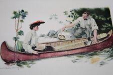 Antique 1908 Print HOWARD CHANDLER CHRISTY Canoe Mates