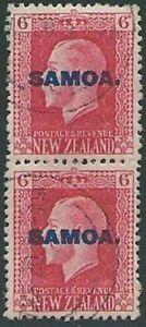 SAMOA 1916-19 GV 6d 2 perf pair fine used SG141b...........................43233