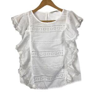 F&F Size 12 EU 40 White Ruffle Frills Boho Festival Short Sleeve Top Blouse
