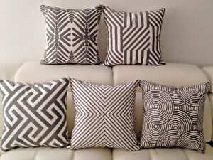 "Geometric Aztec Linen Cotton White Grey Embroidery Cushion Cover Home Decor 18"""