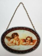 Vintage 1996 Daydreaming Cherubs Glass Oblong Flue Cover Precious!