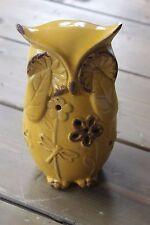 Vintage Yellow Crackle Paint Owl Flowers Figure