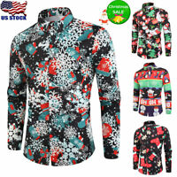 Men's Christmas Printed Shirt Casual Xmas Party Dress T-Shirt Tops Button Blouse