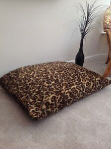 Beanbag Floor Cushion Filled Leopard Print Faux Fur Large 3cf Size Luxurious