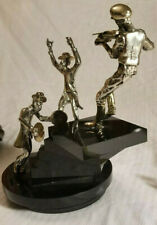 Yaacov Heller Sterling Silver & Black Acrylic 3 Musicians Rotating Sculpture