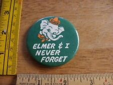 Elmer the Elephant and I never forget Canada safety 1970s pinback button