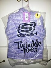 New Skechers Little Girls Twinkle Toes Hooded Puffer Jacket Purple S Size 4 Coat