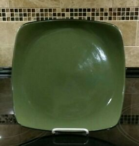 Corelle Hearthstone BAY LEAF GREEN Square Stoneware Dinner Plate 11.25 inches
